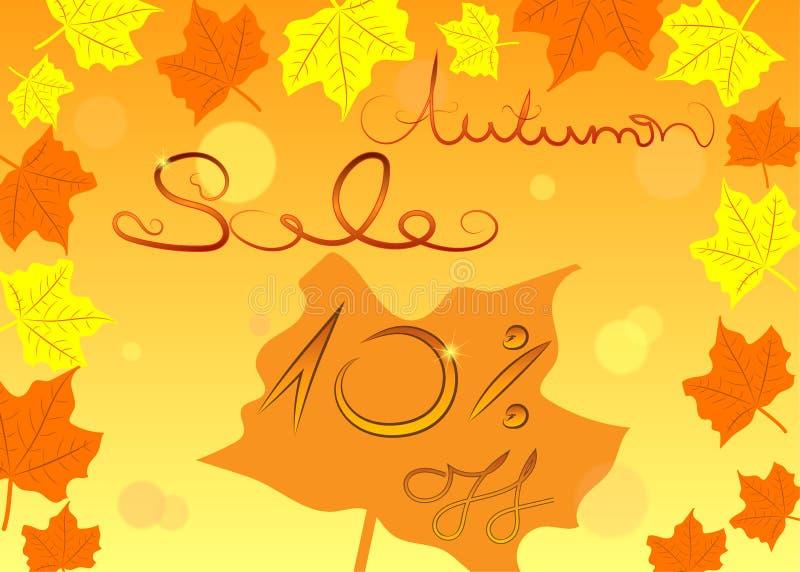 五颜六色的秋天销售购物概念,传染媒介 库存例证