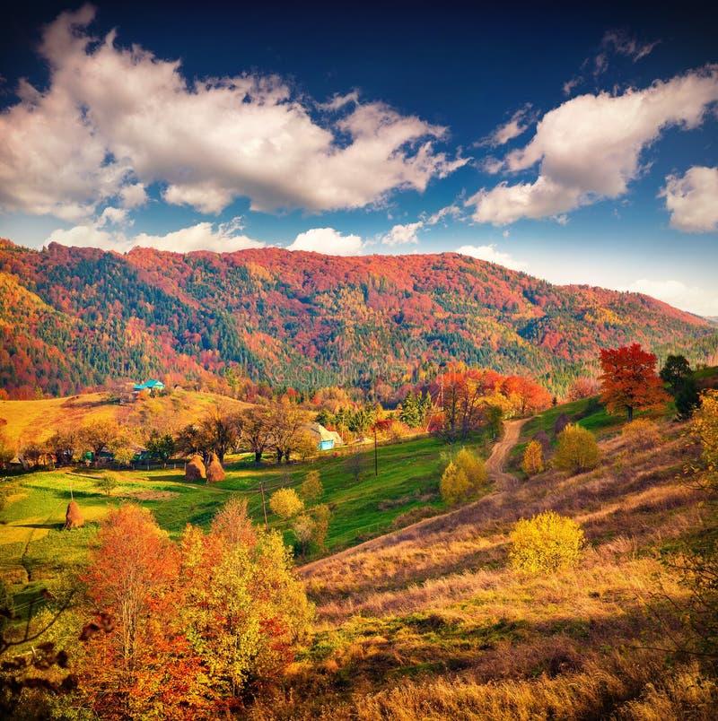 五颜六色的秋天风景在山村 库存照片
