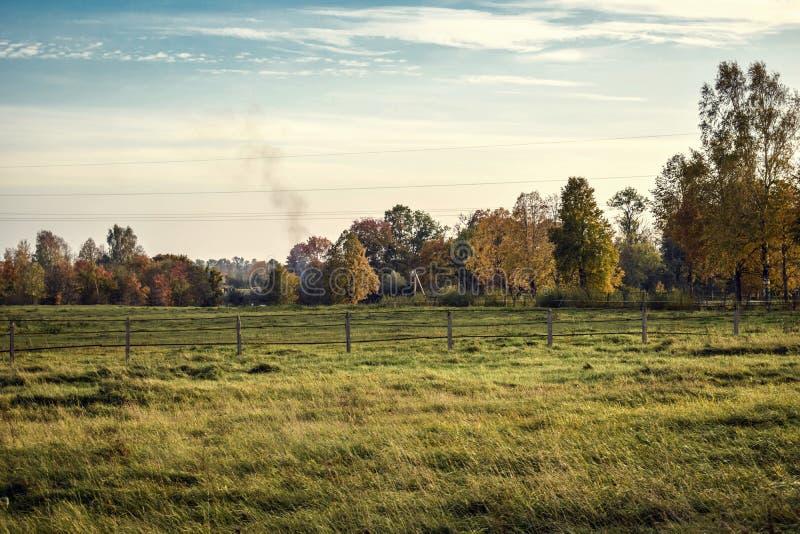 五颜六色的秋天风景在晴天 库存图片