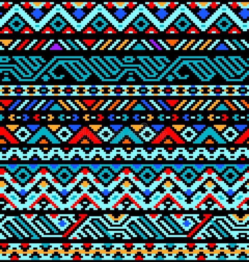 五颜六色的种族几何阿兹台克无缝的样式, 皇族释放例证