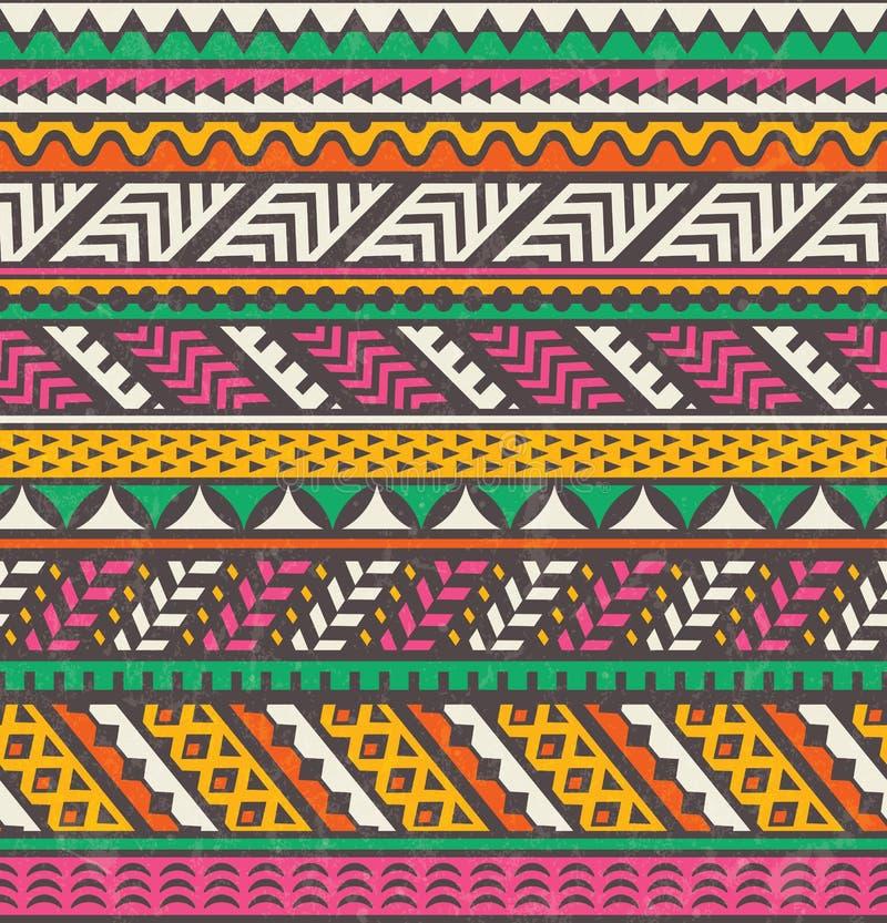 五颜六色的种族印刷品 背景无缝的向量 库存例证