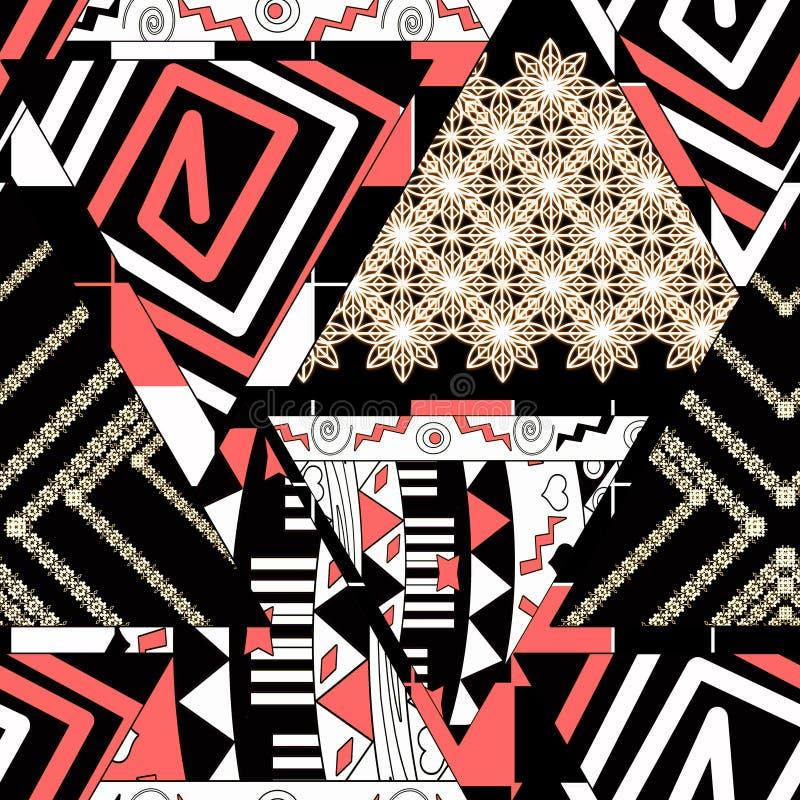 五颜六色的种族无缝的样式 补缀品 在黑背景的米黄,红色,白色装饰品 向量例证
