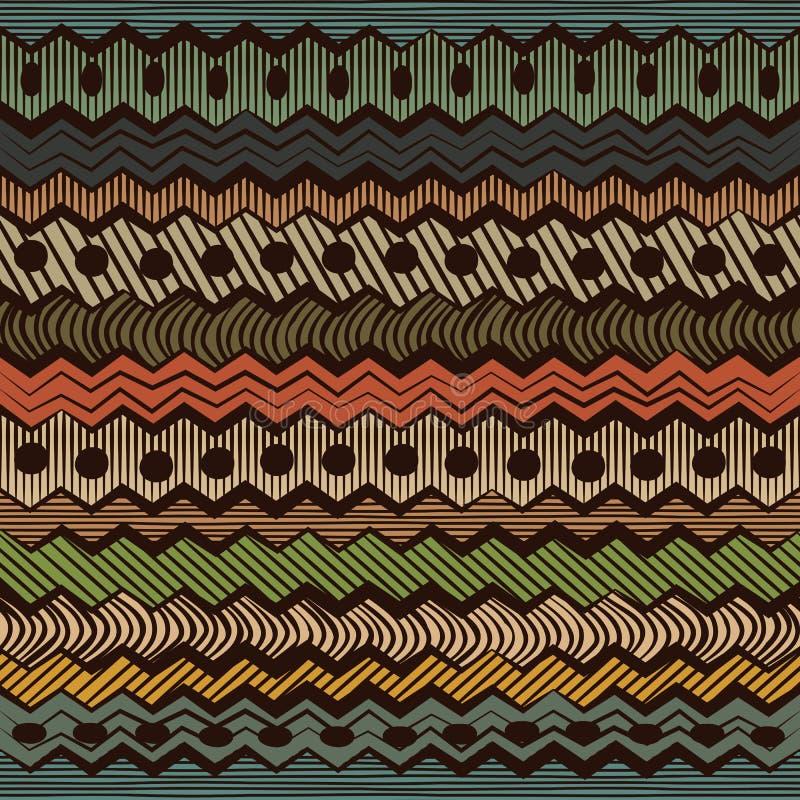 五颜六色的种族无缝的样式 库存例证