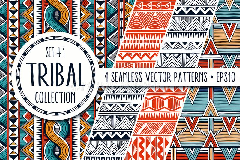 五颜六色的种族样式收藏 套4现代抽象无缝的背景 向量例证