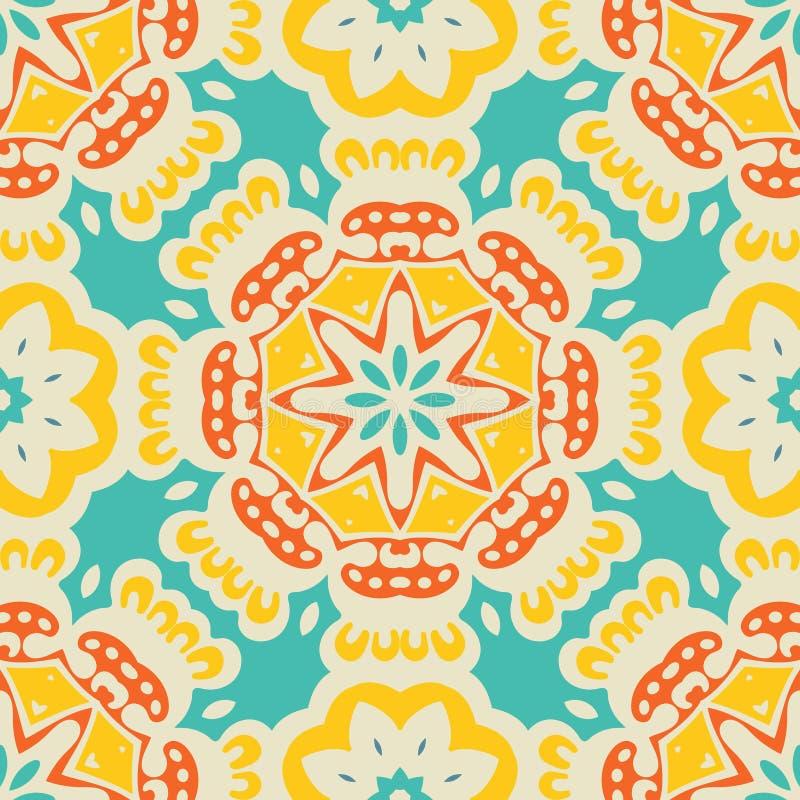 五颜六色的种族欢乐抽象铺磁砖的样式 库存例证