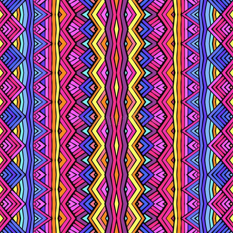 五颜六色的种族装饰品无缝的样式设计 最佳的下载原来的打印准备好的纹理导航 皇族释放例证