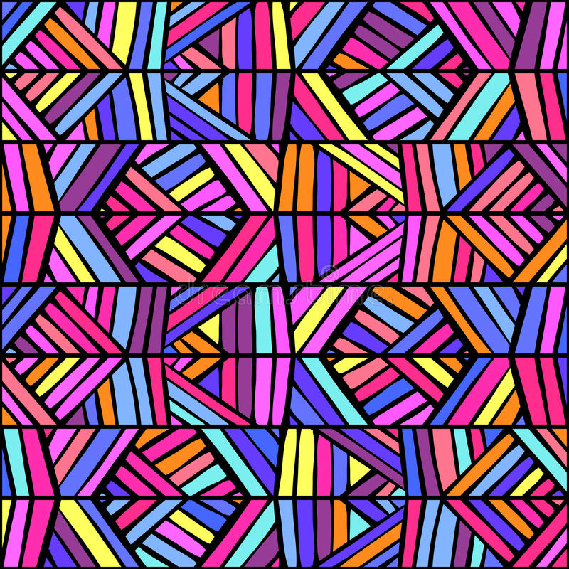 五颜六色的种族装饰品无缝的样式设计 最佳的下载原来的打印准备好的纹理导航 向量例证