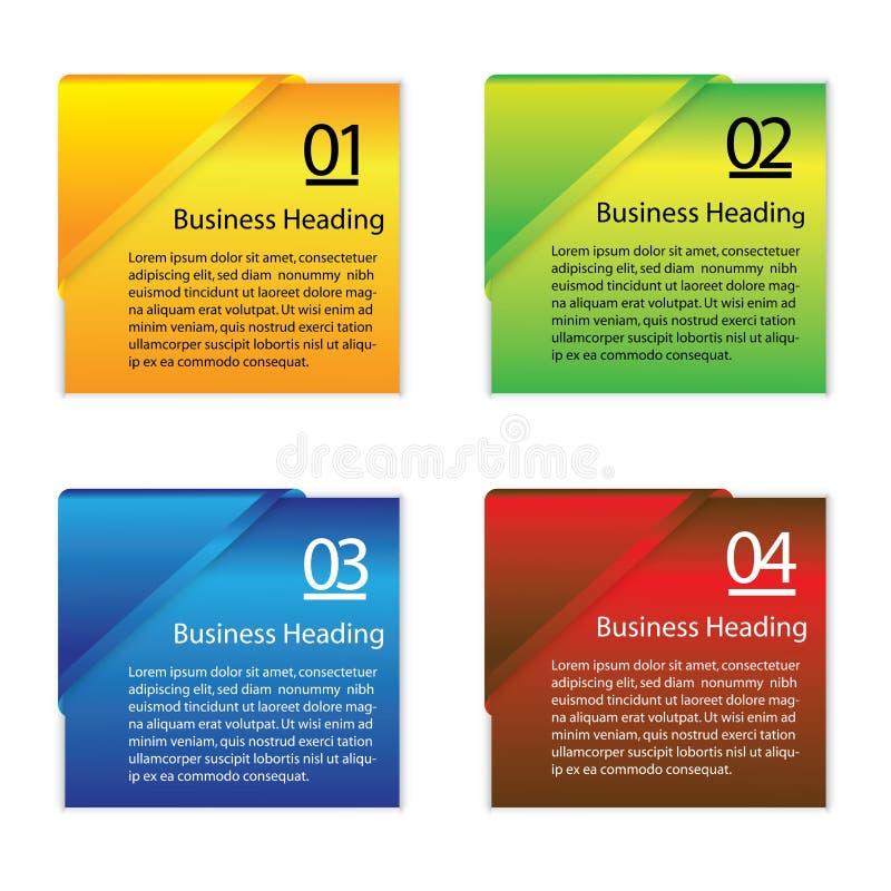 五颜六色的空白或空的纸信息卡片图表  皇族释放例证
