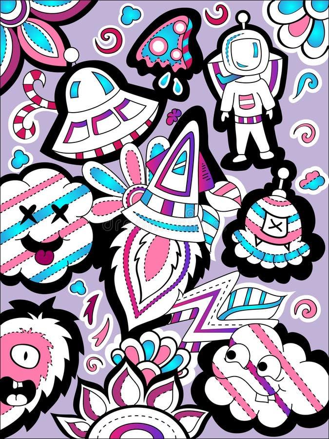五颜六色的空间乱画传染媒介艺术 向量例证