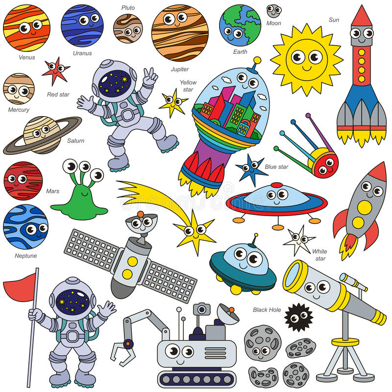 五颜六色的空间孩子集合,彩图模板的汇集,小组概述数字式元素 皇族释放例证