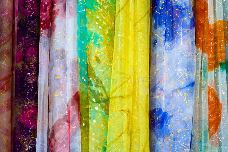 五颜六色的窗帘 免版税库存照片