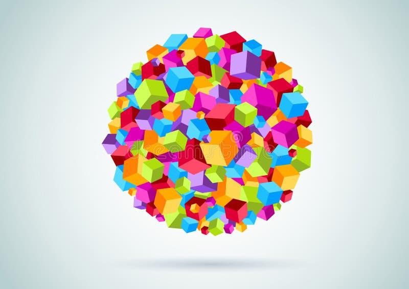 五颜六色的立方体形成圈子 向量例证