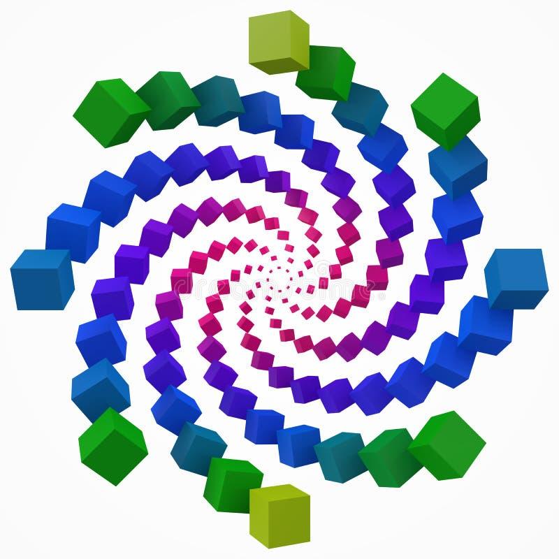 五颜六色的立方体打旋 3d映象点样式传染媒介例证 皇族释放例证
