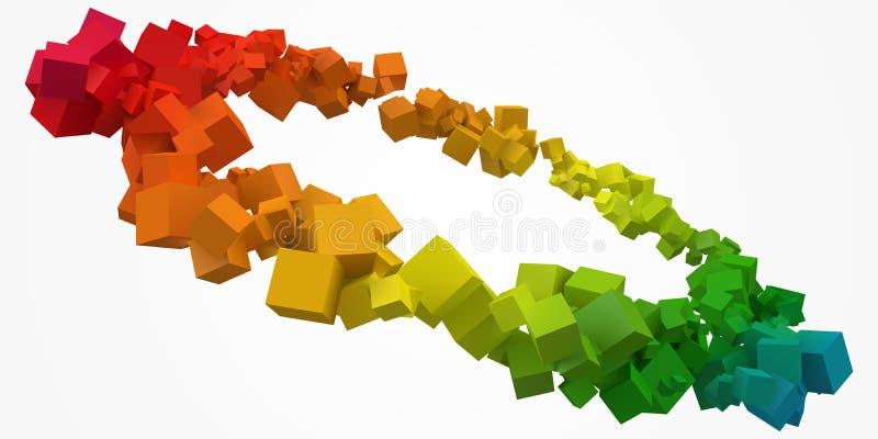 五颜六色的立方体敲响以自由在中心 3d样式传染媒介例证 向量例证