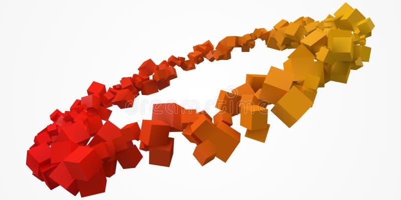 五颜六色的立方体敲响以自由在中心 3d样式传染媒介例证 库存例证
