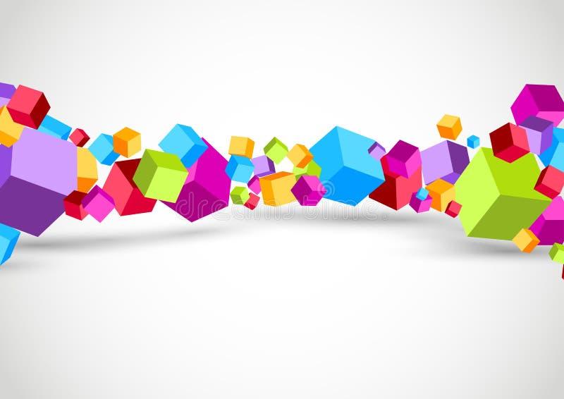 五颜六色的立方体3D背景 向量例证