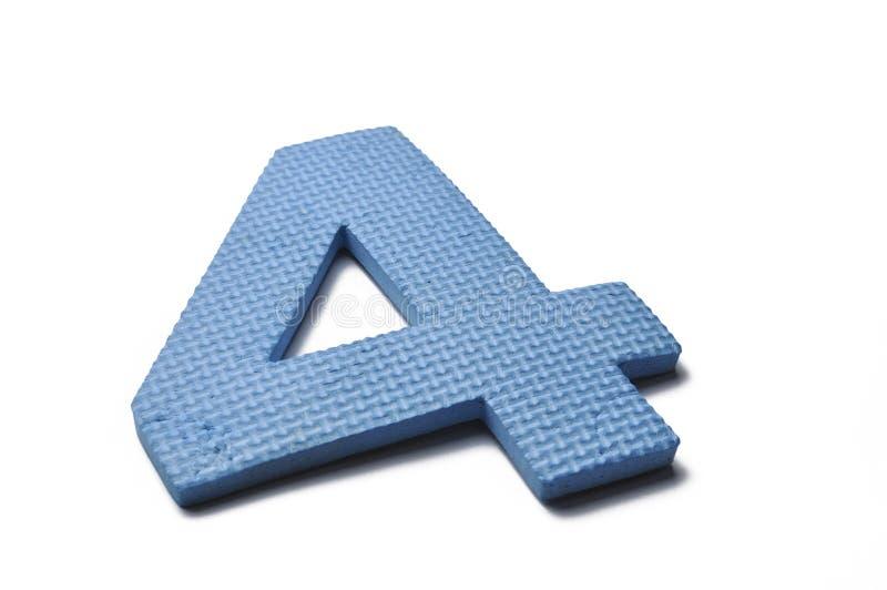 五颜六色的第4 (;four);隔绝在白色背景 在白色背景隔绝的数字 蓝色第四 库存照片