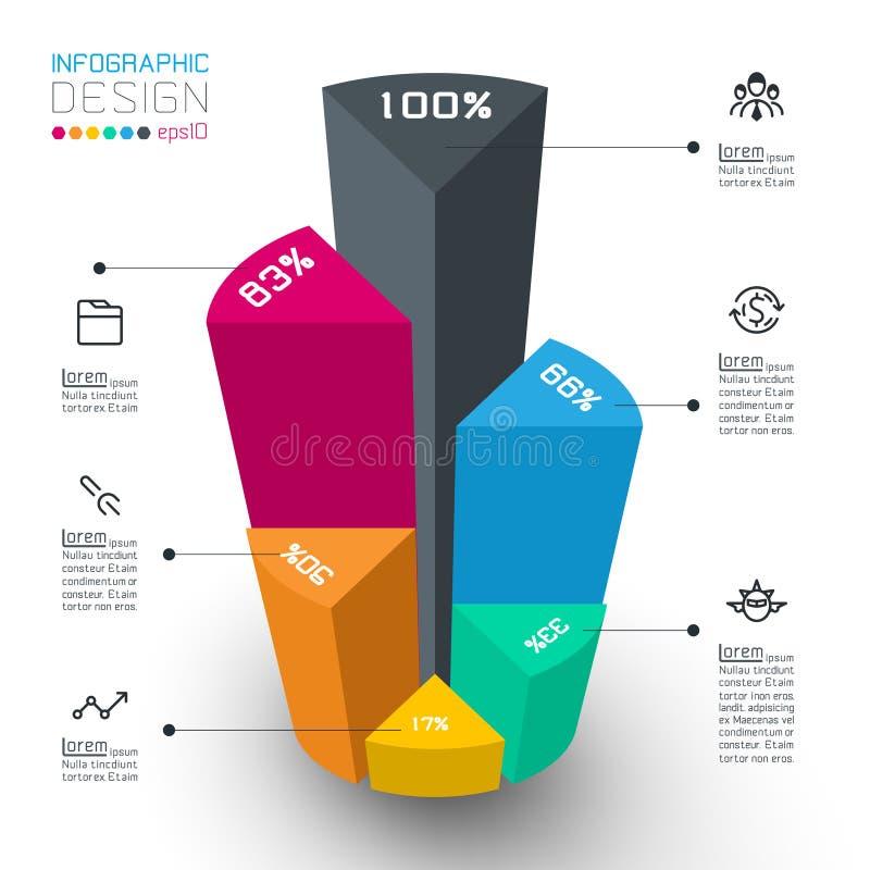 五颜六色的等量圆筒infographic 库存例证