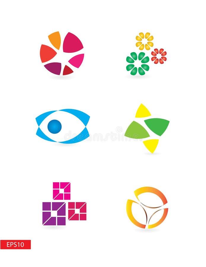 五颜六色的简单,但是典雅的现代商标 库存例证