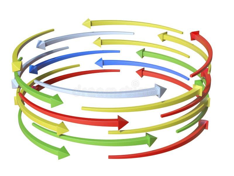 五颜六色的箭头圆筒图3D 库存例证