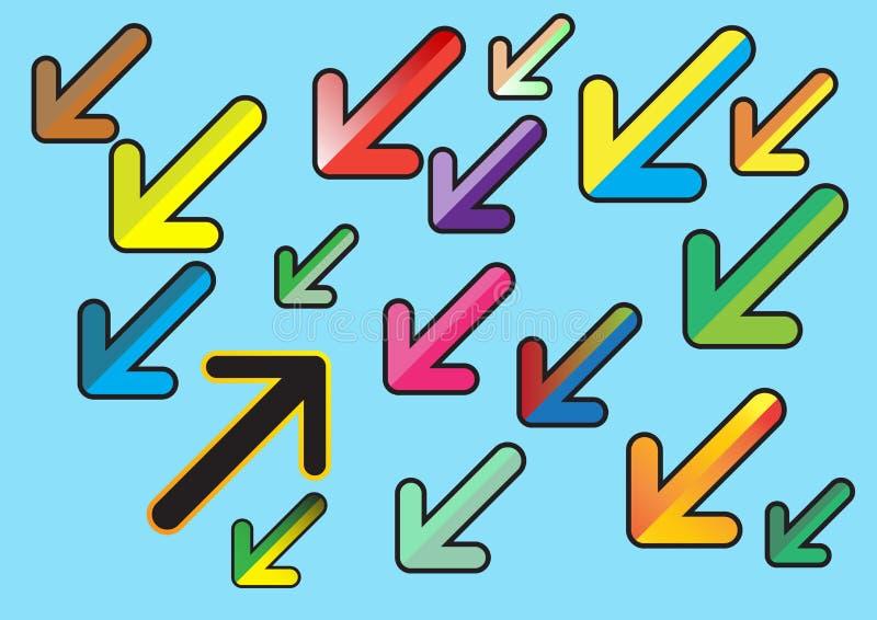 五颜六色的箭头平的设计样式 ?? ?? 向量例证