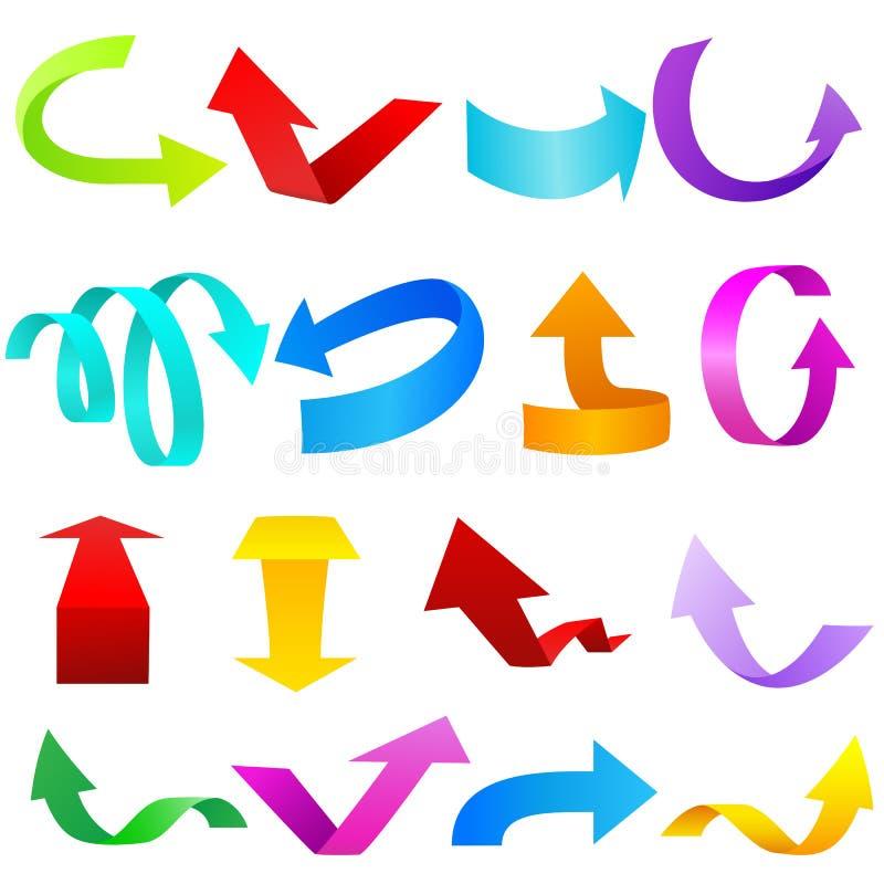 五颜六色的箭头集 向量例证