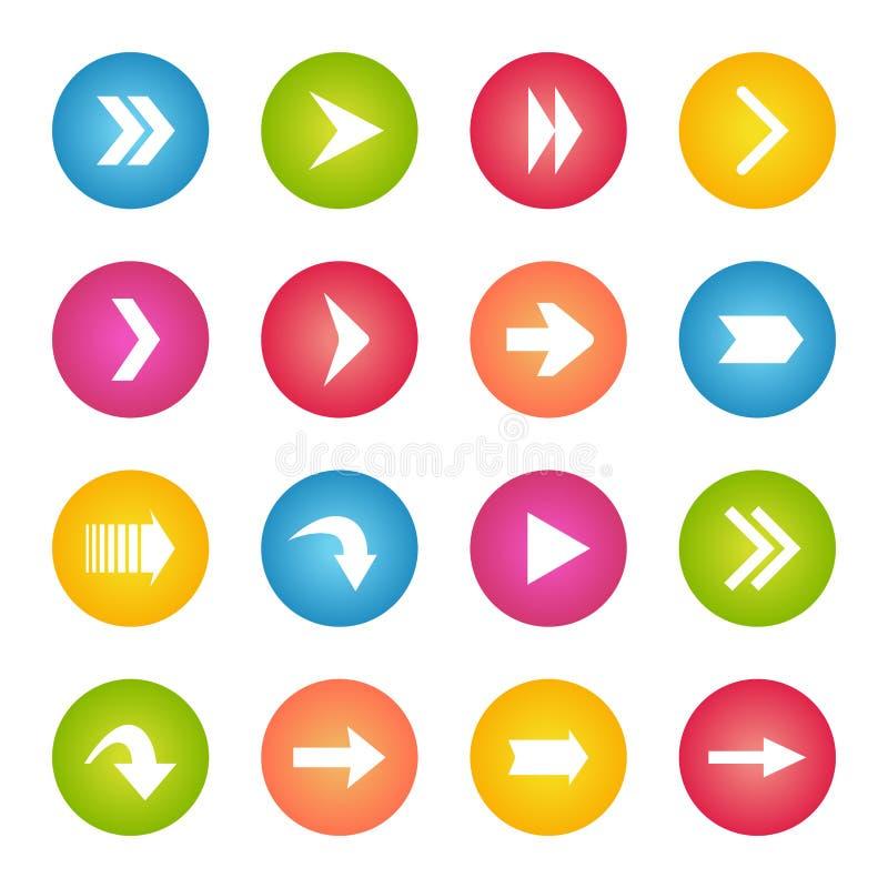 五颜六色的箭头象圈子网按钮 库存例证