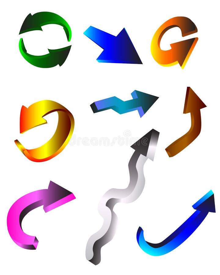 五颜六色的箭头 皇族释放例证