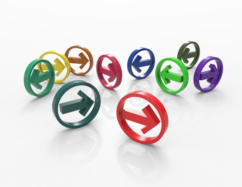 五颜六色的箭头3D 库存例证