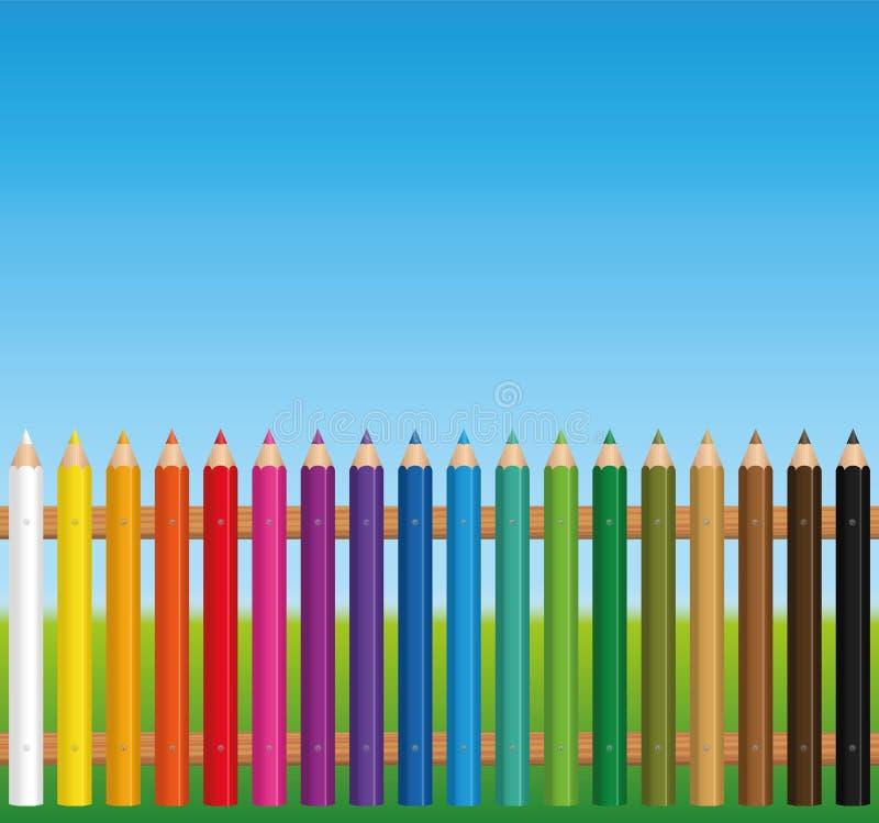 五颜六色的篱芭色的蜡笔 向量例证