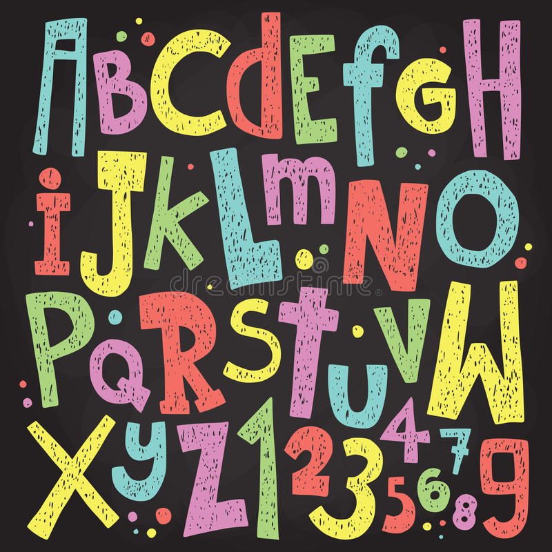 五颜六色的粉笔板信件和数字 葡萄酒难看的东西字母表传染媒介组装 图库摄影