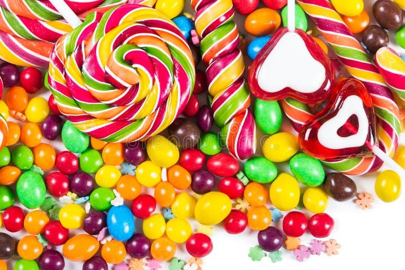 五颜六色的糖果和棒棒糖 图库摄影