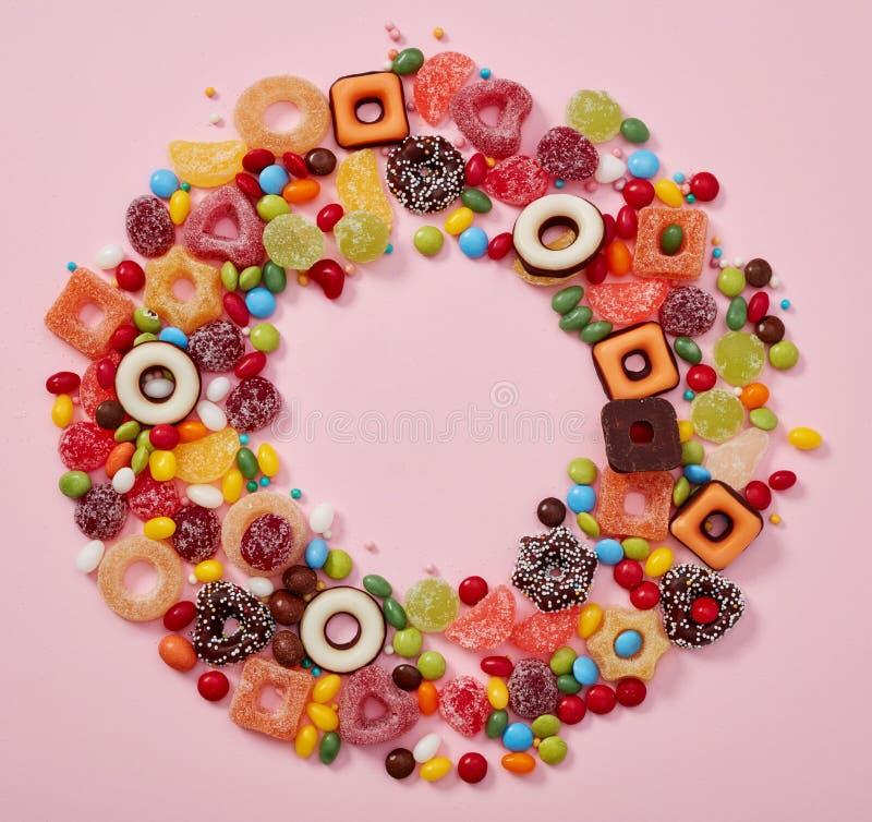 五颜六色的糖果框架 库存照片