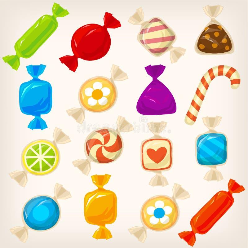 五颜六色的糖果集合 库存例证