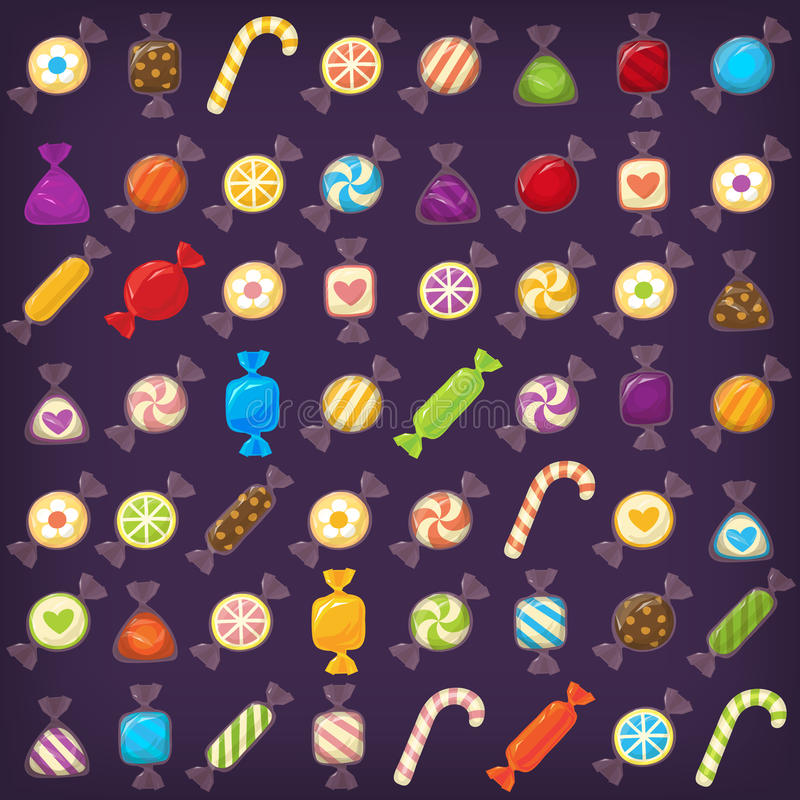 五颜六色的糖果集合 向量例证