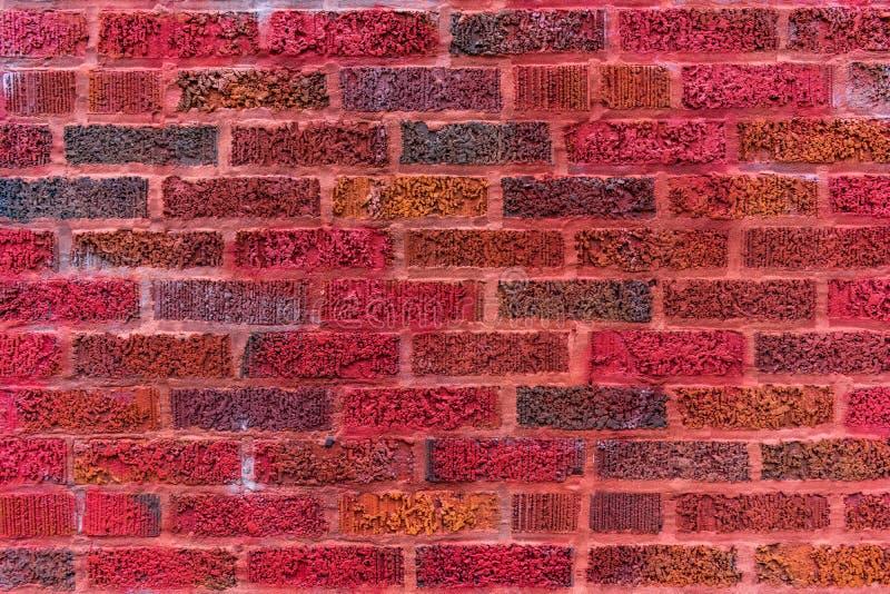 五颜六色的红砖墙壁Backround 库存照片