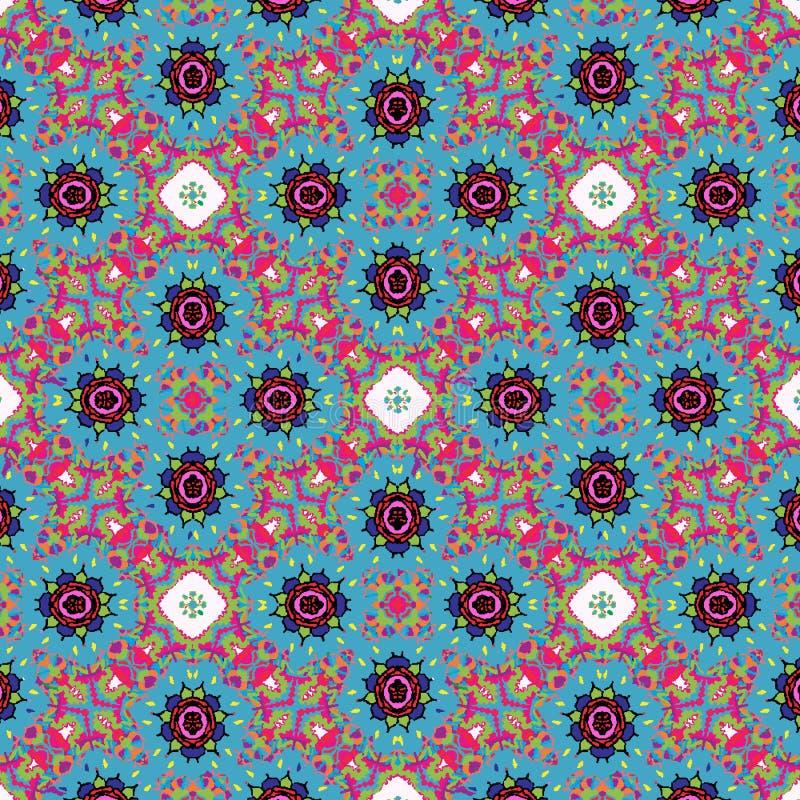 五颜六色的红色和蓝色花卉对称重复的样式 皇族释放例证