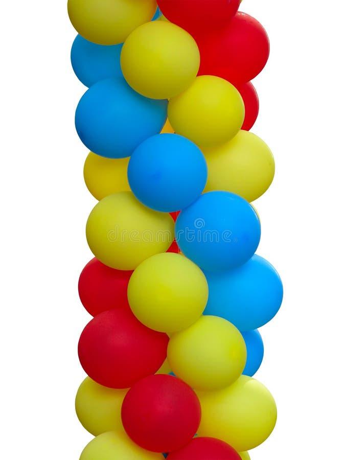 五颜六色的红色蓝色黄色气球被隔绝在白色 免版税库存照片