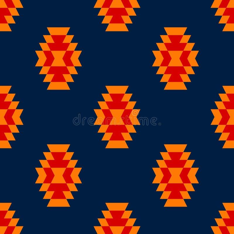 五颜六色的红色黄色蓝色阿兹台克装饰品几何种族无缝的样式,传染媒介 皇族释放例证