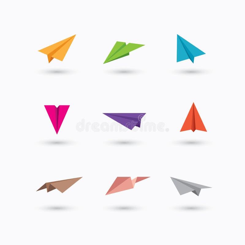 五颜六色的纸平面象 皇族释放例证