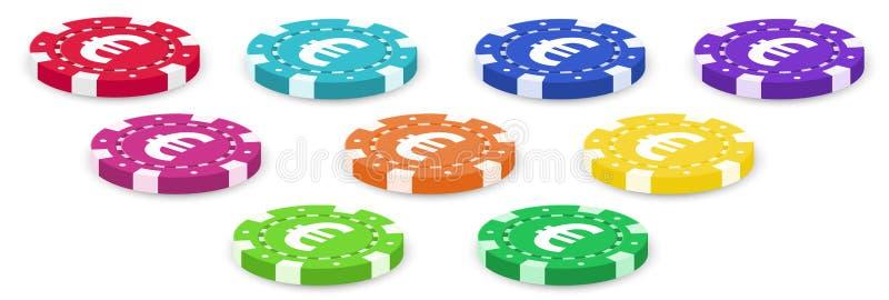 五颜六色的纸牌筹码 向量例证