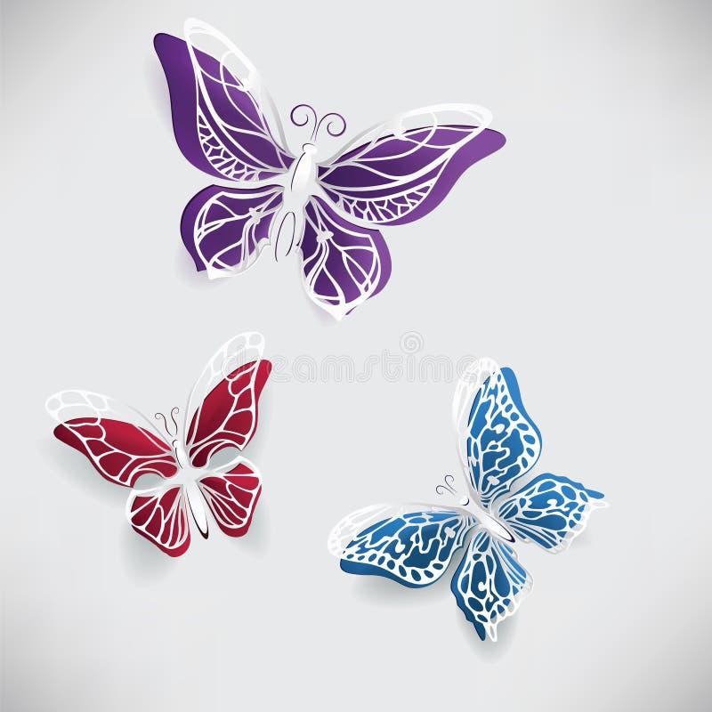 五颜六色的纸蝴蝶origami 皇族释放例证