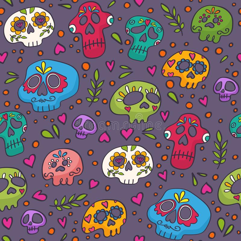 五颜六色的纺织品,包裹,织品、墙纸和其他表面的头骨无缝的样式 圣洁死亡纹理 库存例证