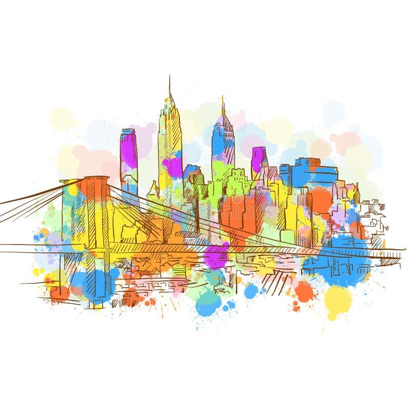 五颜六色的纽约大都会剪影 向量例证