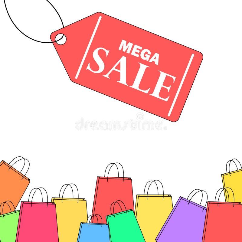 五颜六色的线型购物袋销售横幅 向量例证