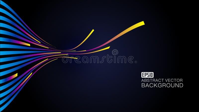 五颜六色的线构成发光的射线背景例证,抽象传染媒介背景例证 向量例证