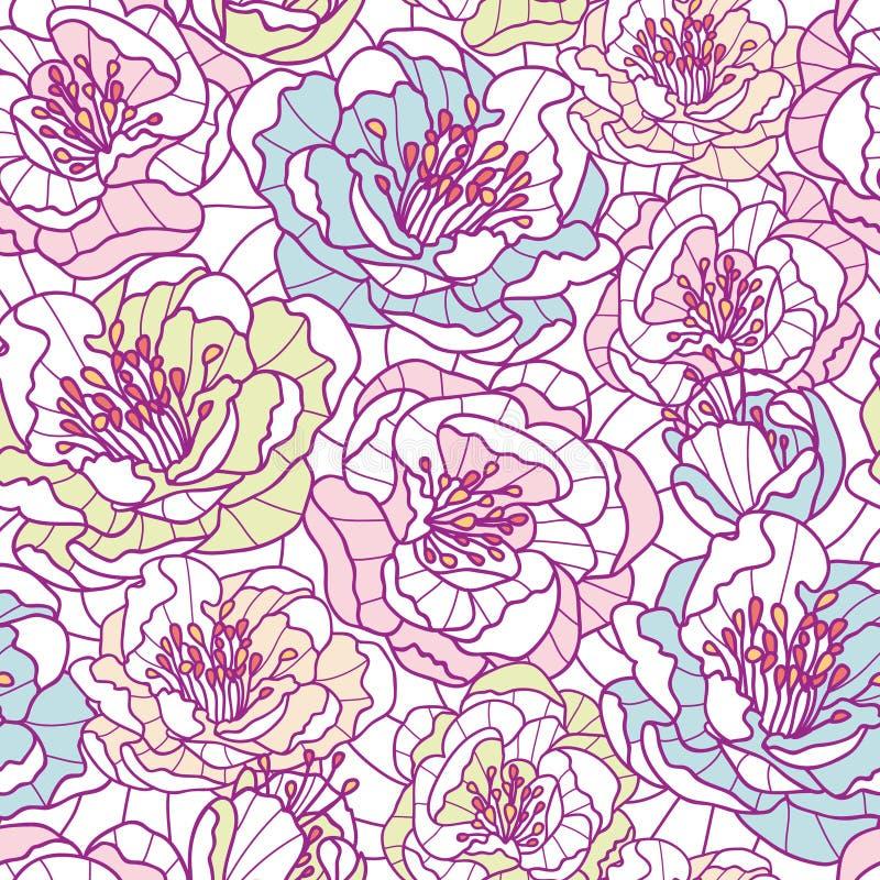 五颜六色的线艺术开花无缝的样式 库存例证
