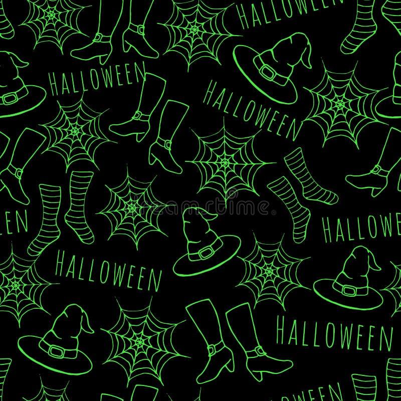五颜六色的绿色手拉的在黑背景的传染媒介万圣夜无缝的样式 皇族释放例证