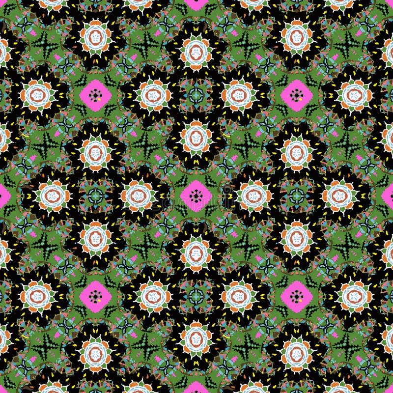 五颜六色的绿色,红色和桃红色花卉对称重复的样式 向量例证