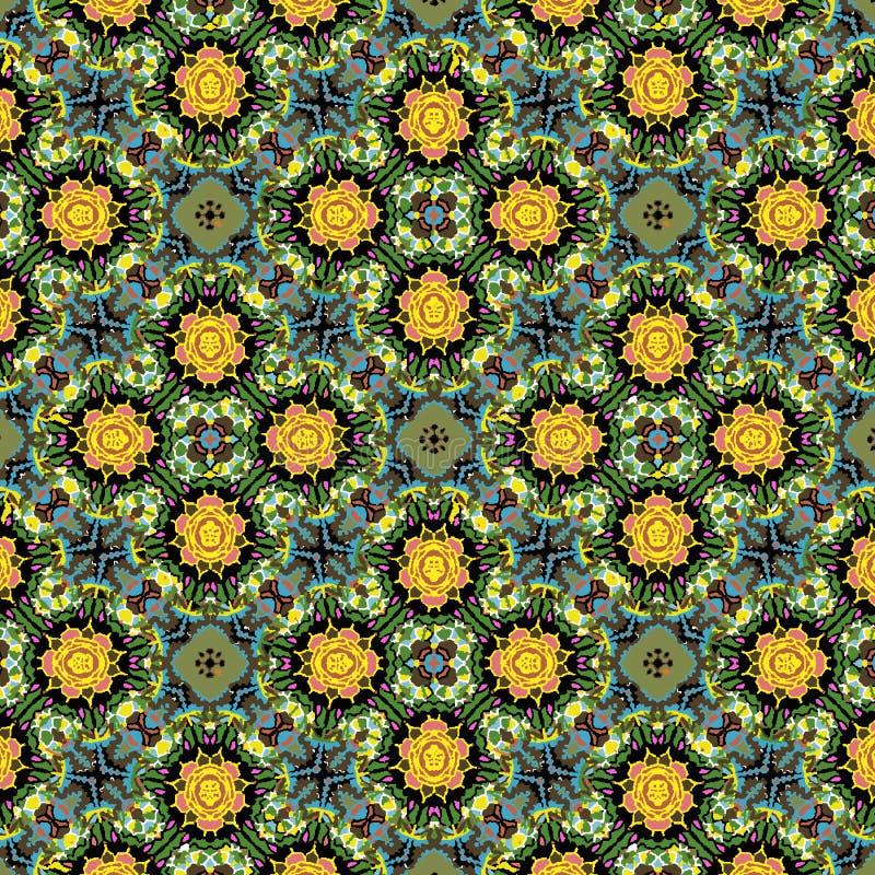 五颜六色的绿色,黄色和橙色花卉对称重复的样式 皇族释放例证